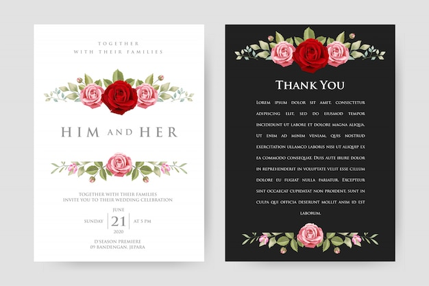 Wedding invitation card with floral and leaves
