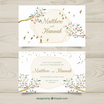 Wedding invitation card with floral ornaments