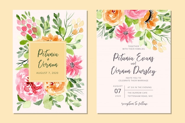 Wedding invitation card with floral watercolor background