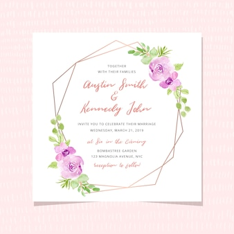 Wedding invitation card with floral watercolor and golden frame