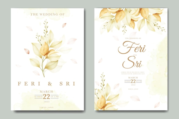 Wedding invitation card with floral watercolor template