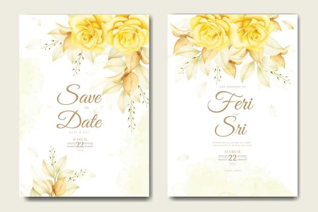 꽃 수채화 템플릿 결혼식 초대 카드
