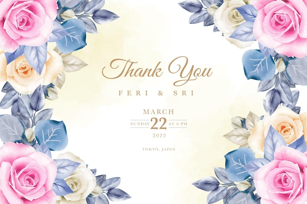 꽃 수채화와 결혼식 초대 카드