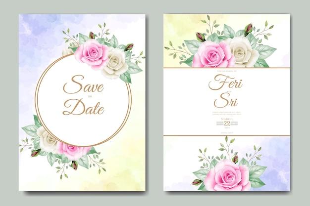 花の水彩画と結婚式の招待カード