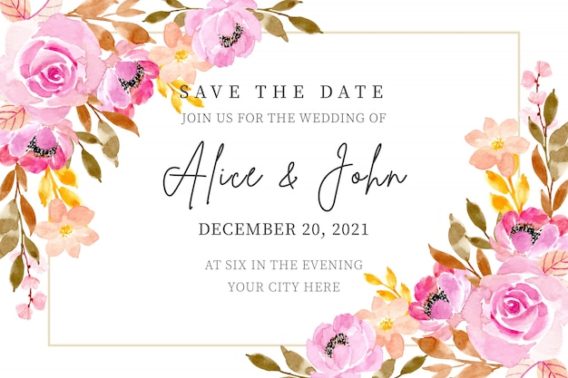 Wedding invitation card with floral watercolor