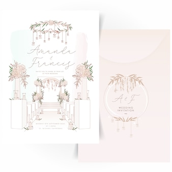 Wedding invitation card with floral wreath logo design