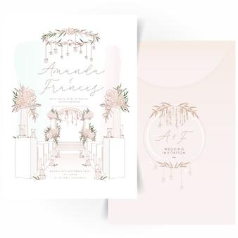 フローラルリースのロゴデザインの結婚式の招待カード
