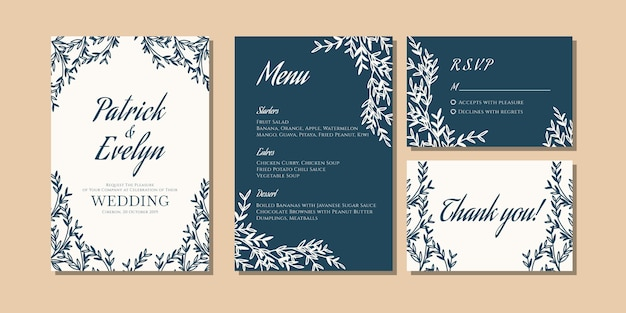 Wedding invitation card with floral