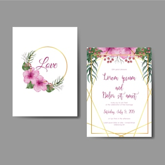 Wedding invitation card with flower hibiscus pink