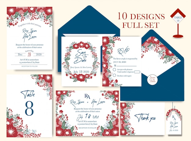 Wedding invitation card with flower templates.