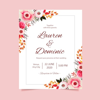 Wedding invitation card with flower watercolor frame background