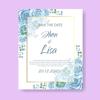 Wedding invitation card with flower