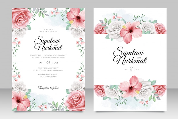 Свадебная пригласительная открытка с цветами и листьями акварель