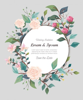 Wedding invitation card with flowers decoration