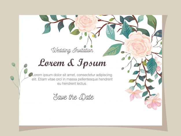 花の装飾の結婚式の招待カード