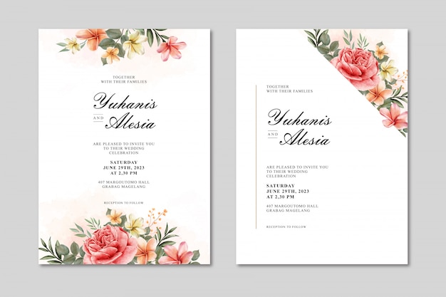 Wedding invitation card with flowers and leaf watercolor