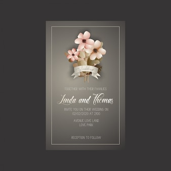Wedding invitation card with flowers and leaves
