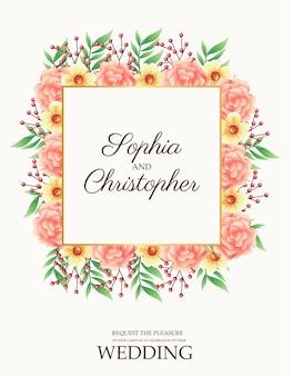 ピンクと正方形のフレームのイラストの花と結婚式の招待状