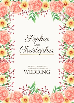 Wedding invitation card with flowers pink border frame  illustration
