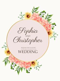 金色の円形フレームの図でピンクの花と結婚式の招待状
