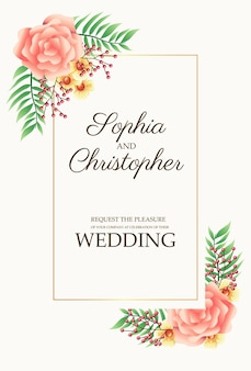 コーナーフレームイラストにピンクの花と結婚式の招待カード