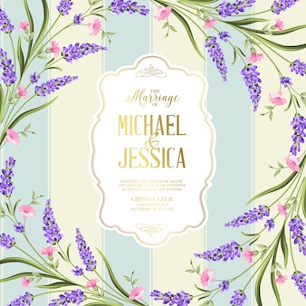 Wedding invitation card with flowers