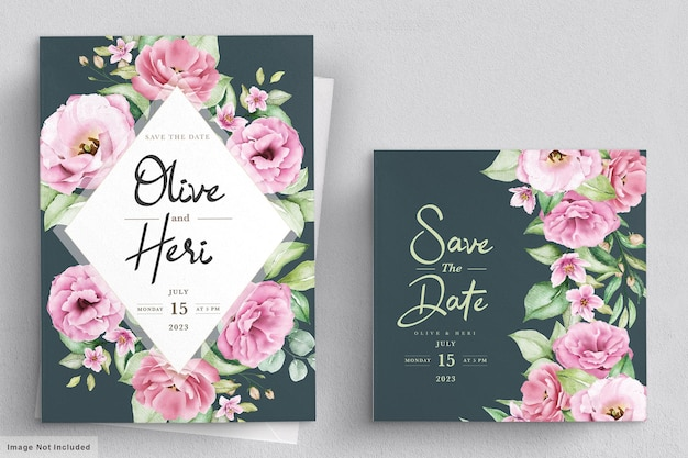 Wedding invitation card with flowers