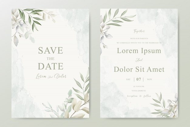 Wedding invitation card with foliage