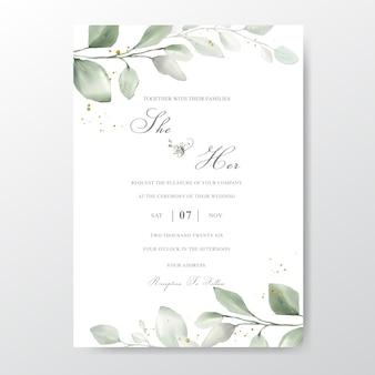 Wedding invitation card with foliage