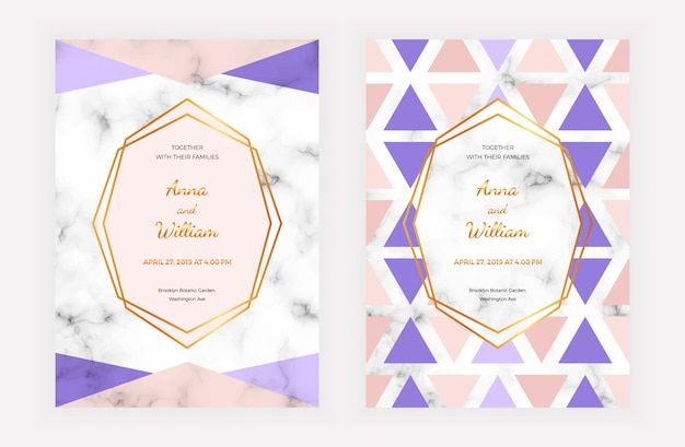 Wedding invitation card with geometric design on the marble texture