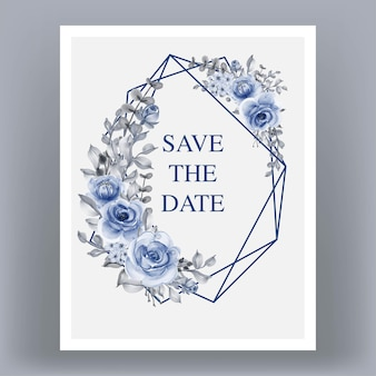 Wedding invitation card with geometry frame with blue flowers