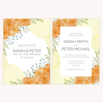 Wedding invitation card with gold flower watercolor illustration