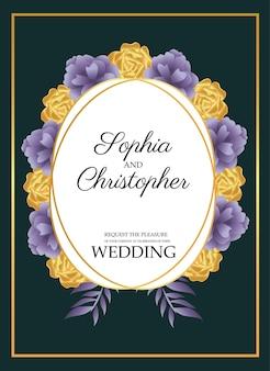 황금 원형 프레임과 노란색 꽃 일러스트와 함께 결혼식 초대 카드