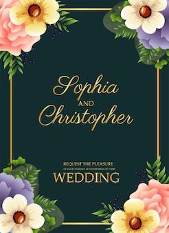 金色の正方形のフレームと花のイラストと結婚式の招待状