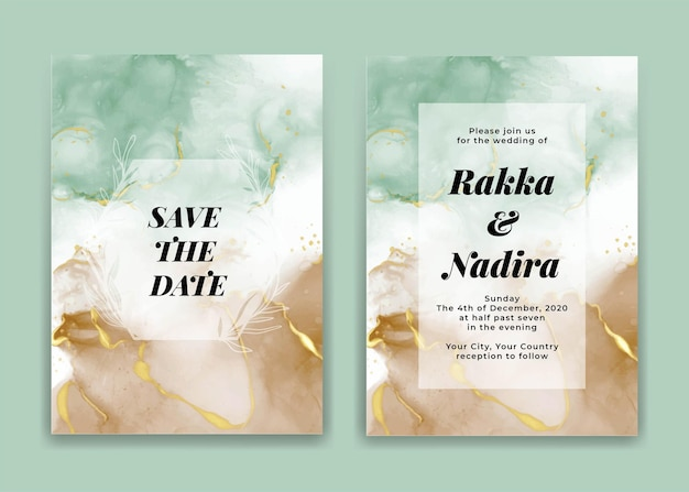 Wedding invitation card with golden water and sand sea waves shapes