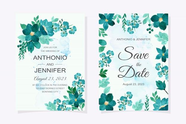 緑の花の水彩画の結婚式の招待カード