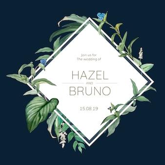 녹색 결혼식 초대 카드 나뭇잎 디자인 벡터