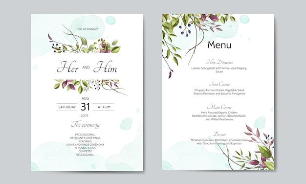 Wedding invitation card with green leaves template