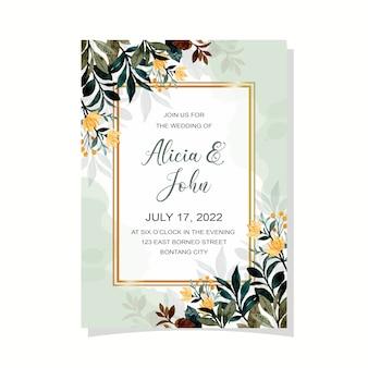 녹색 잎 수채화와 결혼식 초대 카드