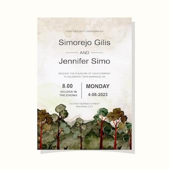緑の山の木の水彩画と結婚式の招待カード