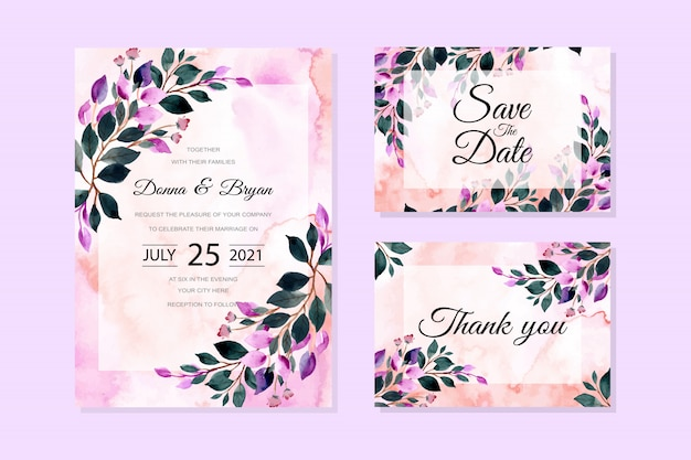 Wedding invitation card with green purple leaves watercolor background