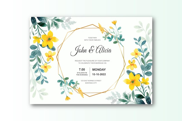 Wedding invitation card with green yellow flower watercolor