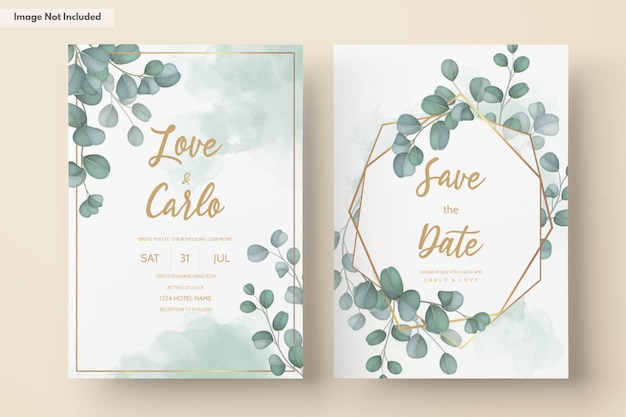 Wedding invitation card with greenery eucalyptus leaves