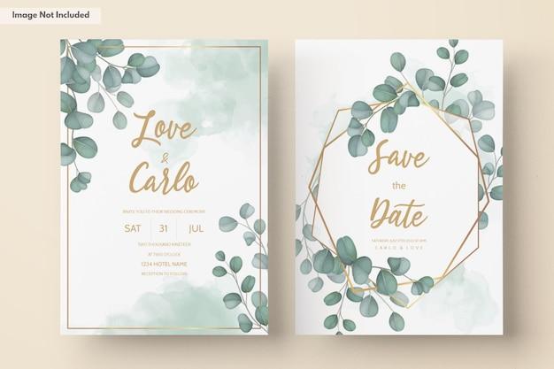 Свадебное приглашение с зелеными листьями эвкалипта
