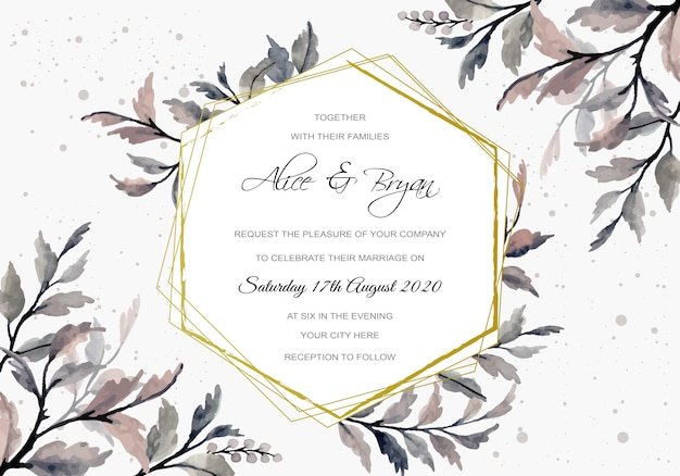 Wedding invitation card with grey leaves watercolor