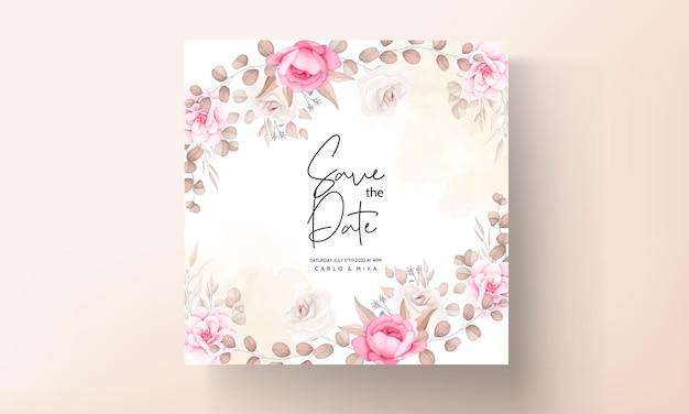 Свадебная пригласительная открытка с ручным рисунком персикового и коричневого цветов