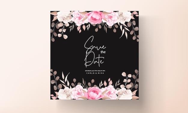 手描きの桃と茶色の花の結婚式の招待カード