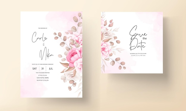 Wedding invitation card with hand draw peach and brown floral