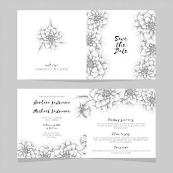 Wedding invitation card with hand drawn dahlia flower