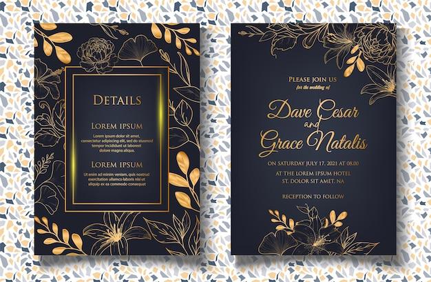 手描きの花の装飾が施された結婚式の招待カード